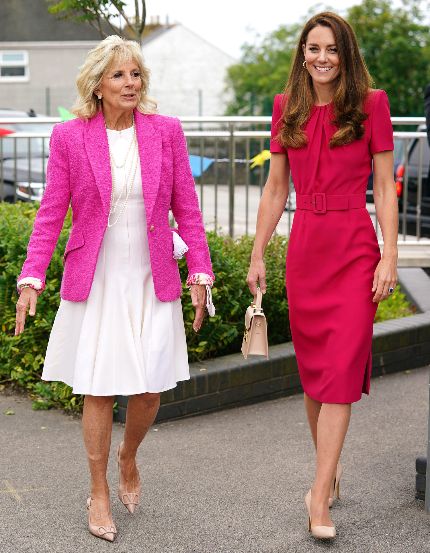 The Duchess of Cambridge (right) and US First Lady Jill Biden during a visit to Connor Downs Academy in Hayle, West Cornwall, during the G7 summit in Cornwall. Picture date: Friday June 11, 2021.