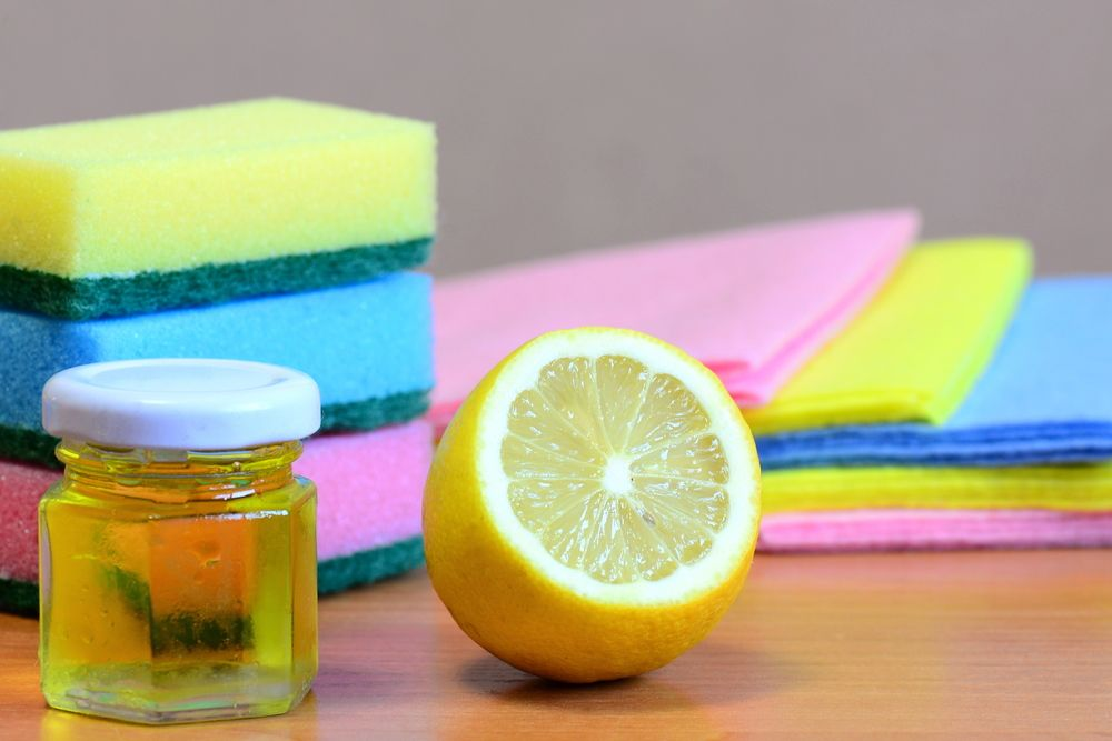 Cleaning,Sponge,With,Scrub,And,Rags,Set,,Olive,Oil,,Lemon