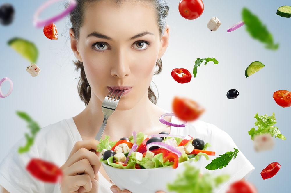 A,Beautiful,Girl,Eating,Healthy,Food